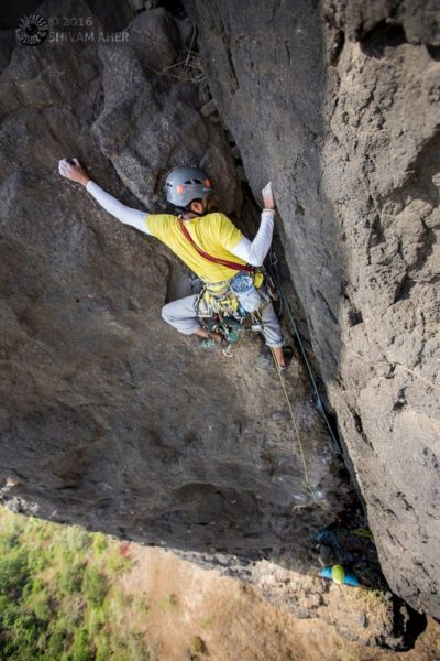 Trad Climbing in India - Rohit Vartak on the upper pitches