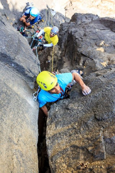 Trad Climbing in India - Ganesh leading on the lower pitches